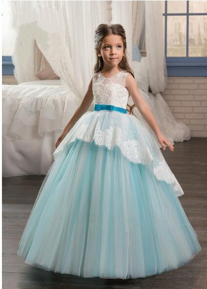 все цены на 2017 Flower Girl Dresses Elegant Pageant Dresses with Sash Ball Gown First Communion Dresses for Girl Kids Dress