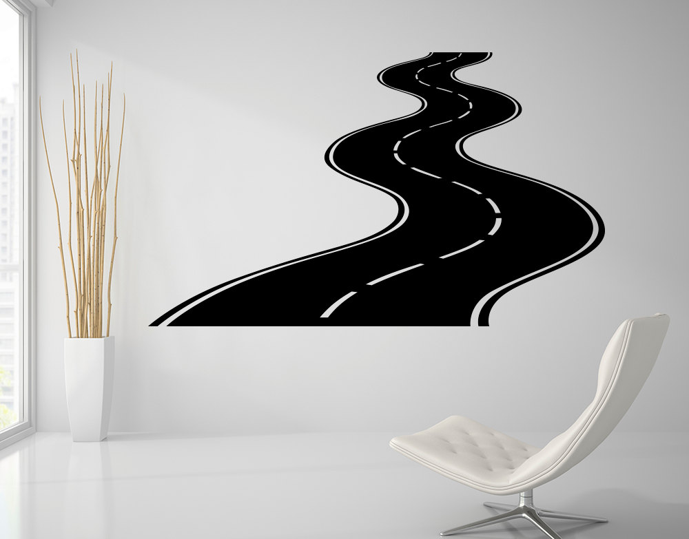 Road Wall Decal Highway Vinyl Sticker Street Wall Art Kids