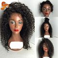 7A Rizado Afro rizado Pelucas de Pelo Humano Para Las Mujeres Negras Virgen Glueless Pelucas Delanteras Del Cordón Mongol Rizado Rizado Encaje Frontal Peluca