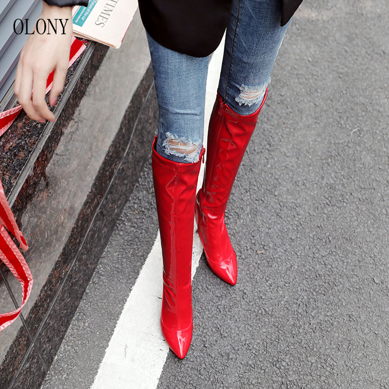 Image 4 - 2018 European and American Fashion womens Long Boots Super High Heel Side Zipper Knee Boots Female Nightclub Banquet High HeelsKnee-High Boots   -