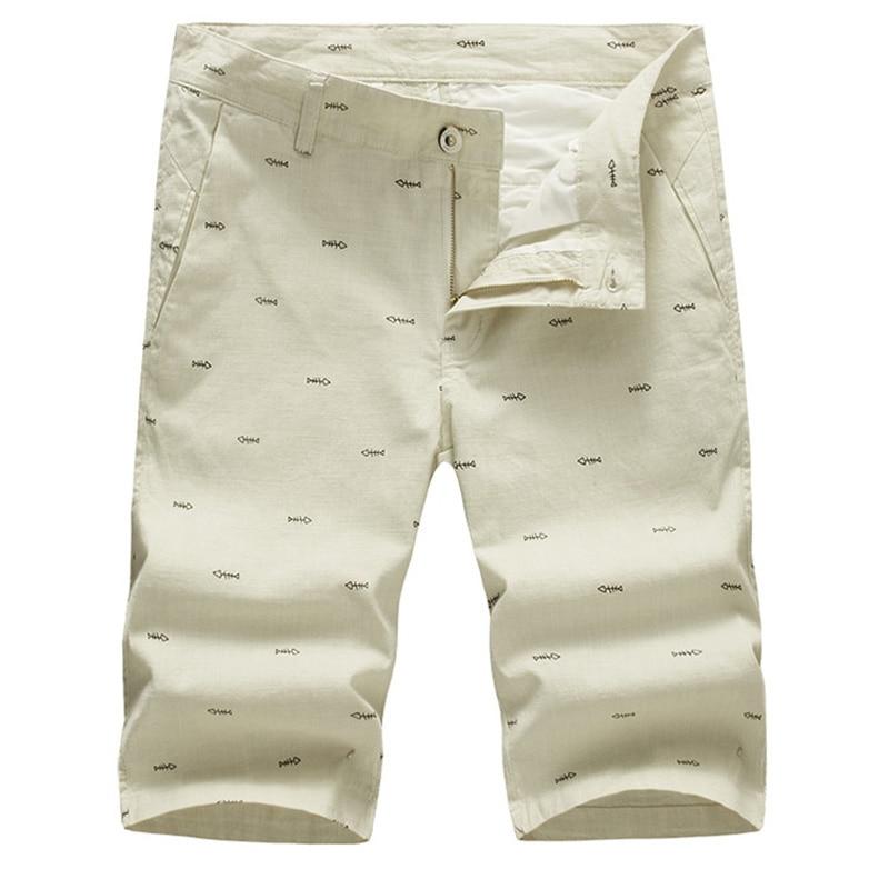 New Fashion Mens Linen Shorts 2017 Summer Brand Men Shorts Homme Stylish Print Casual Beach Shorts Men Short Pants 28~40