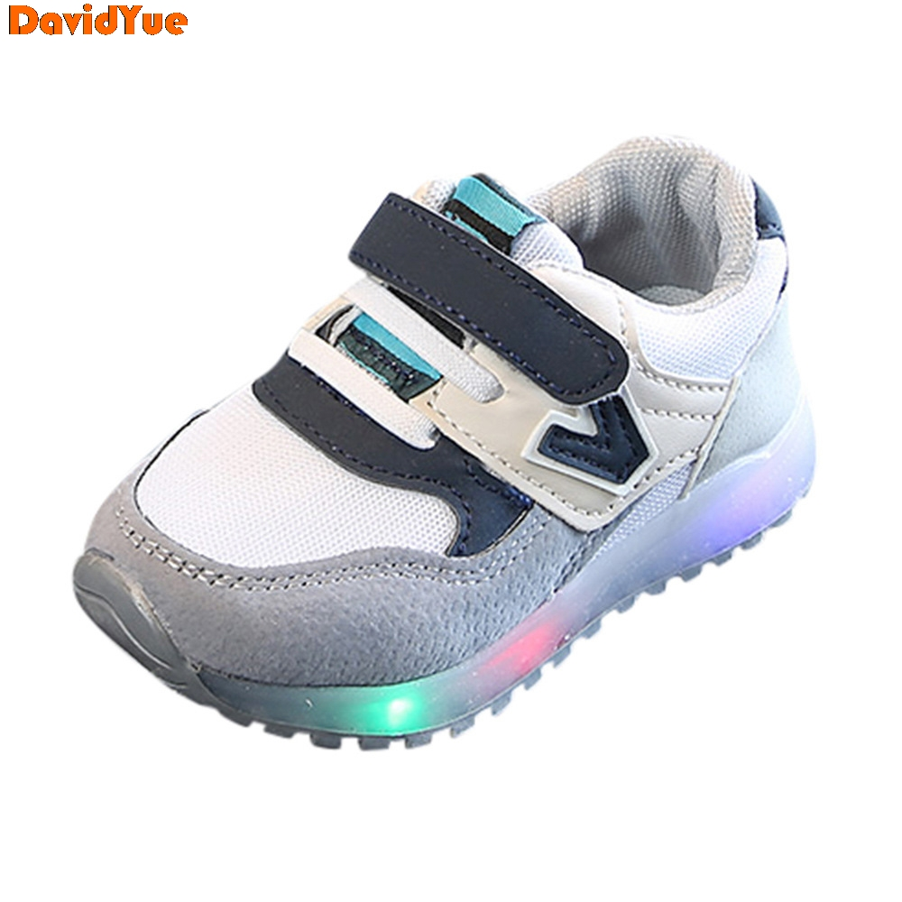 Davidyue luminous kids sneakers shoes  for girls boys tenis infantil glowing sneakers led  light child casual zapatillas loafers|Sneakers| |  - title=
