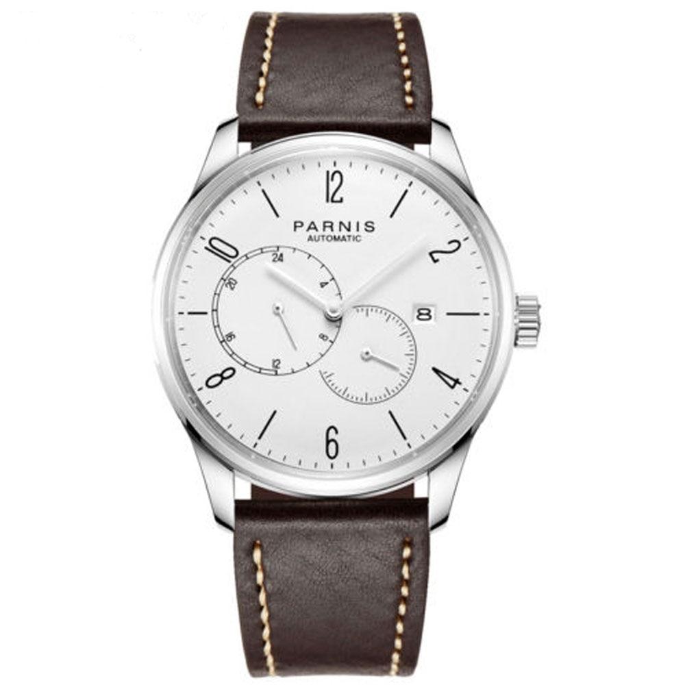 купить 42mm parnis White Dial Stainless steel Case top brand Luxury Complete Calendar Automatic Self-Wind Mechanical men's Watch по цене 6541.36 рублей