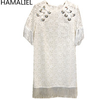 HAMALIEL High Quality 2018 Brand Clothing Summer White Cotton Embroidery Hollow Out Short Sleeve Casual Tassel