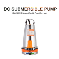 DC12V 260W Mini Submersible Motor Pump Water Pumps 32.8ft head Solar Powered Farm Well Pump With 8.2ft Cord 1848GPH Household