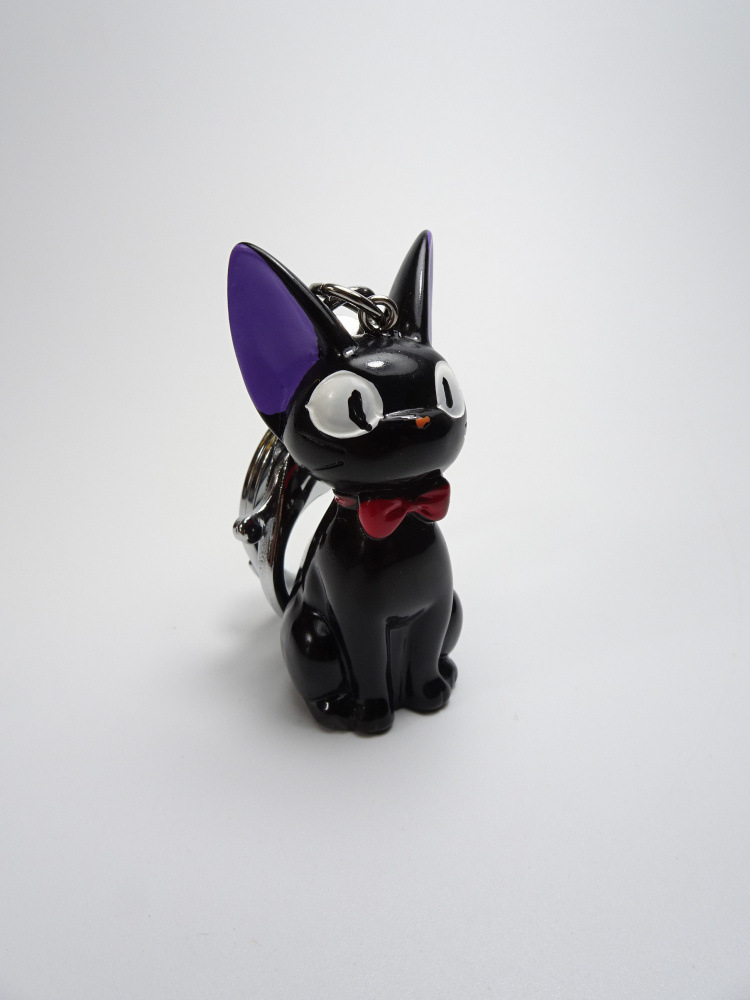 2019 lovely Men And Women Key Chain Black Cat keychain Anime Kiki Cat Resin Action Figures Collection Kids Key Ring Gifts in Key Chains from Jewelry Accessories