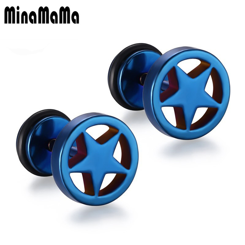 1pair 5 colors round star titanium steel stud earrings for