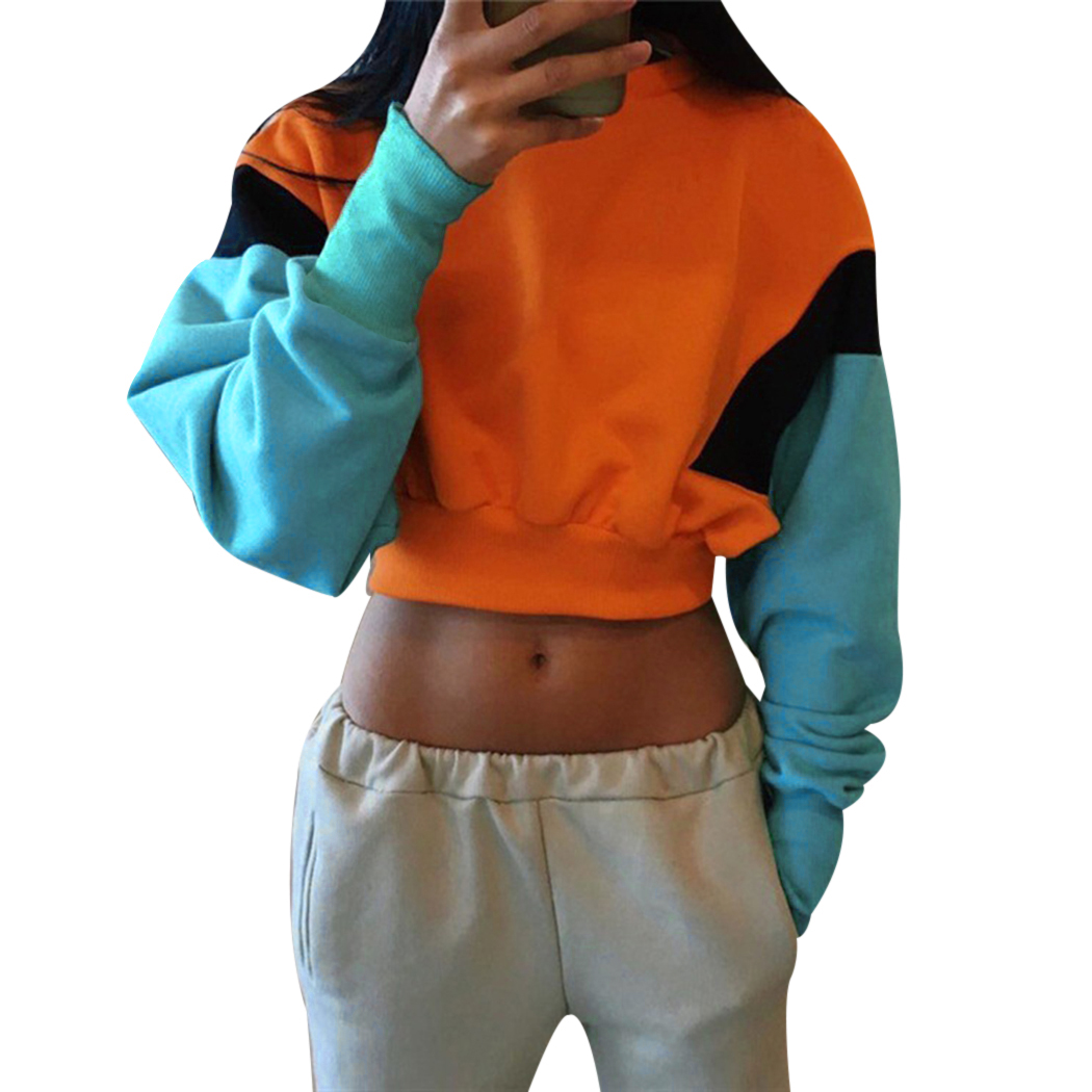 2019 New Women Hoodies Autumn Winter Casual Woman Sexy Hooded Patchwork Long Sleeve Lace Up Clothes Sweatshirt Crop Tops Discounts Price Women's Clothing