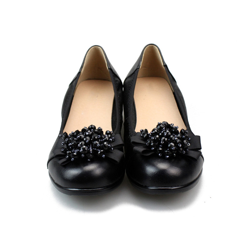Ladies Pumps Soft Comfortable Bottom For Roe Round Women Professional Flowers Of Pumps Shoes Fashion Flowers Office Women Shoes