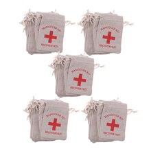50 복구 숙취 키트 가방 암탉 파티 응급 처치 가방 모슬린 호의 가방 13x9 cm