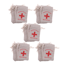 Pieces of 50 Recovery Hangover Kit Bags Hens Party First Aid Bag Muslin Favor Bag 13x9 cm