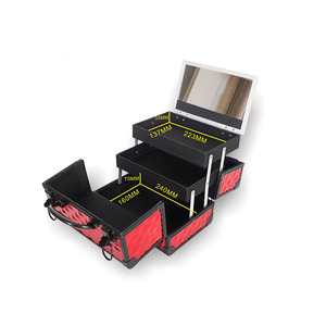 Image 5 - HHYUKIMI באיכות גבוהה אלומיניום סגסוגת מסגרת איפור ארגונית נשים קוסמטי מקרה/תיק עם מראה נסיעות גדול קיבולת מזוודות