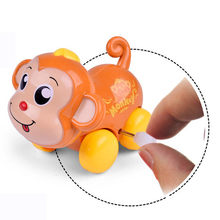 Cute Clockwork Funny Toy Rattling Cartoon Monkey Clockwork Car Educational Toys gift dropshipping18feb27(China)