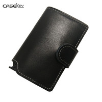 CaseKey Men Prevents RFID Information Leakage PU Leather Mini Wallet Women Safe Multifunction Aluminum Purse Wallet
