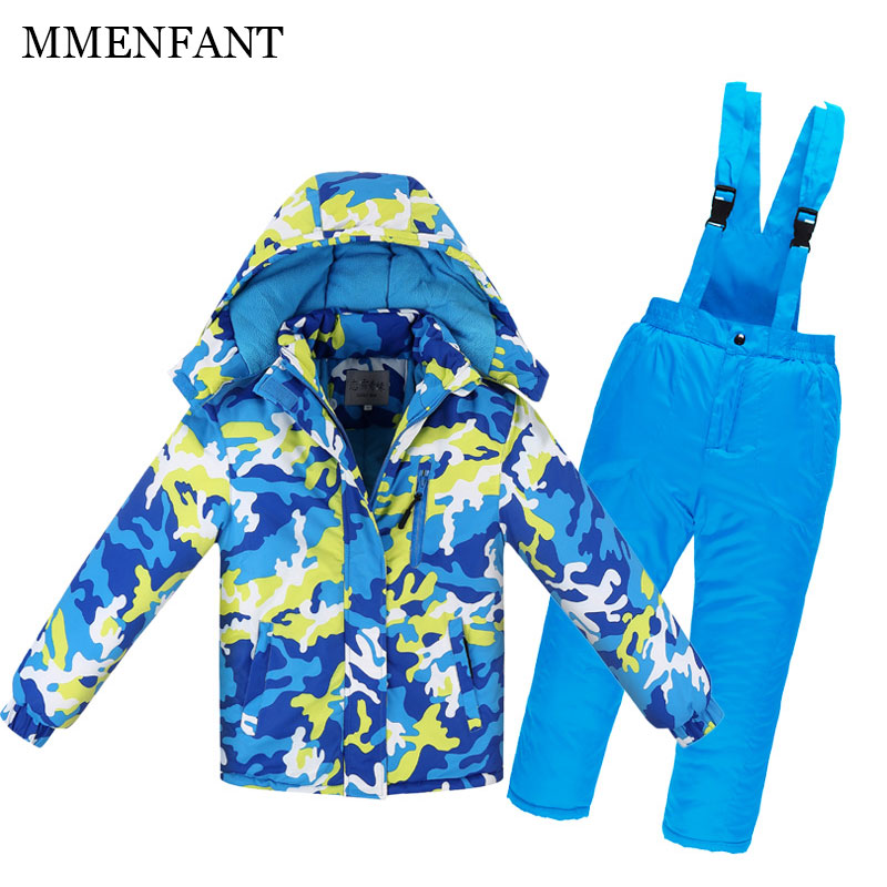 3-14Y High Quality Kids Ski Suit Fleece Lining Winter ski suit Boy Girl Waterproof windproof jacket+pants Children Snow Suits kimocat boy and girl high quality spring autumn children s cowboy suit version of the big boy cherry embroidery jeans two suits