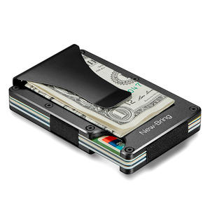 New-Bring Metal Mini Credit Card ID RFID Wallet Men