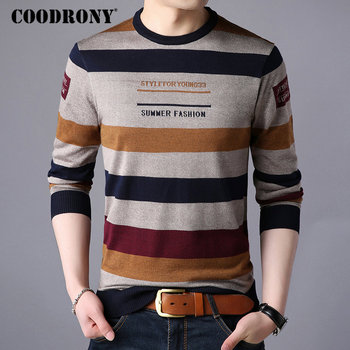 COODRONY Brand Sweater Men Streetwear Fashion Striped Pullover Men Knitwear Shirt Pull Homme Autumn Winter Cotton Sweaters 91060