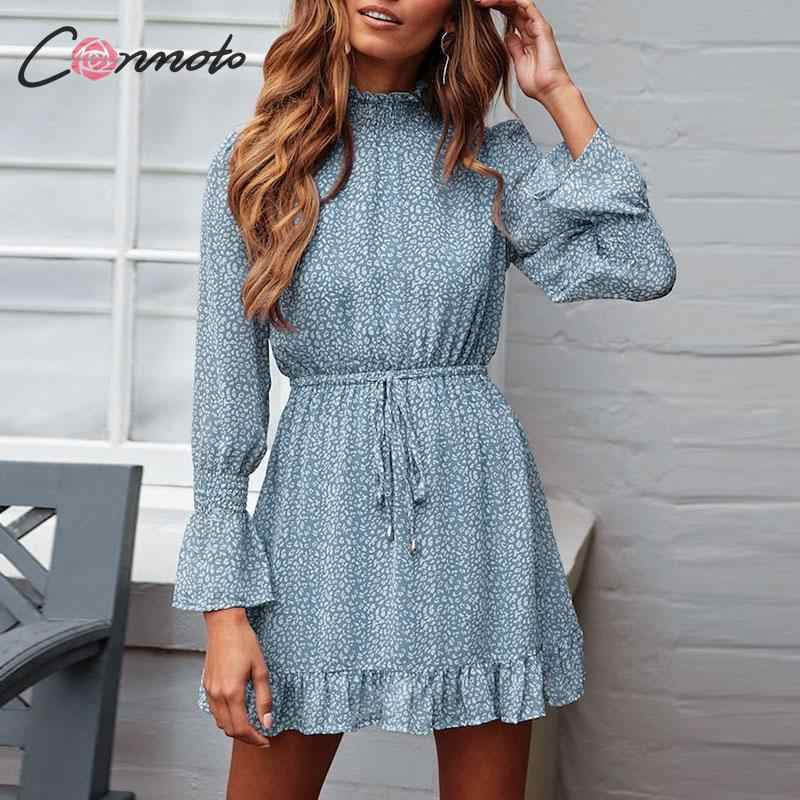 Conmoto Leopard Print Party Dress Women 2019 Elegant Winter Ruffle Long Sleeve Dress Vinatge Turtleneck Blue Mini Dress Vestidos