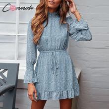 Conmoto ليوبارد طباعة فستان حفلة المرأة 2019 أنيقة الشتاء كشكش فستان بكم طويل Vinatge الياقة المدورة الأزرق فستان قصير Vestidos