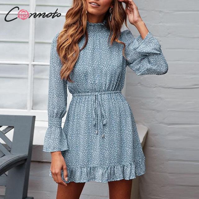 Conmoto Leopard Print Party Dress Women 2019 Elegant Winter Ruffle Long Sleeve Dress Vinatge Turtleneck Blue Mini Dress Vestidos