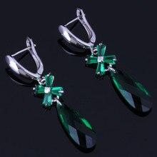 Clean Long Water Drop Green Cubic Zirconia 925 Sterling Silver Dangle Earrings For Women V1012