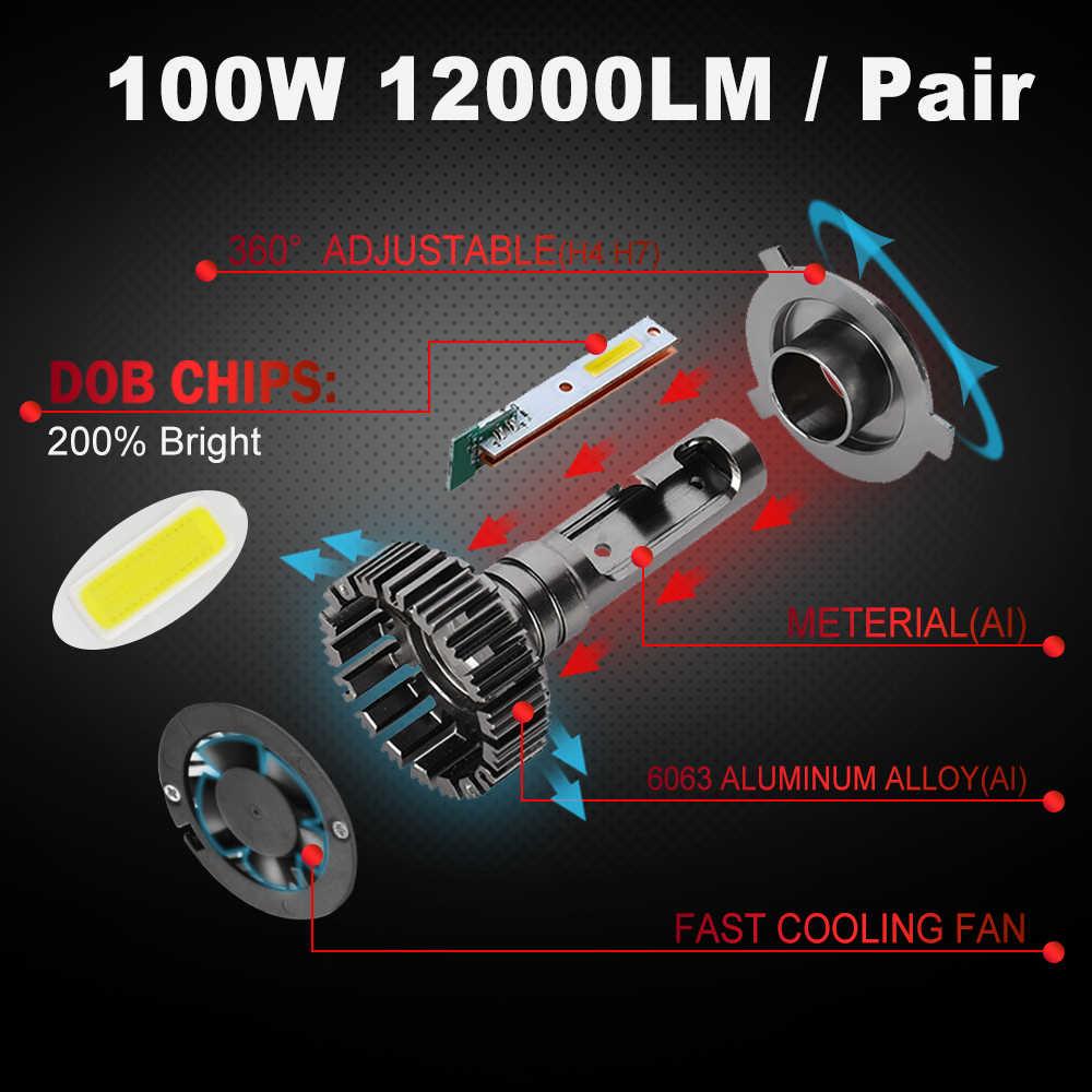 BraveWay DOB Chip LED Ice Lamps for Auto H1 H4 H7 H8 H11 HB3 HB4 9006 9005 Light Bulbs LED Headlight H7 Canbus 100W 12000LM 12V