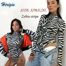 Summer Jumpsuits 2019 New Women Casual Long Sleeve Turtleneck Skinny Zebra Stripe Size S-XL