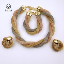 Rose Two tone color Dubai Ethiopian Nigerian wedding african beads jewelry set necklace ethiopian gold(China)