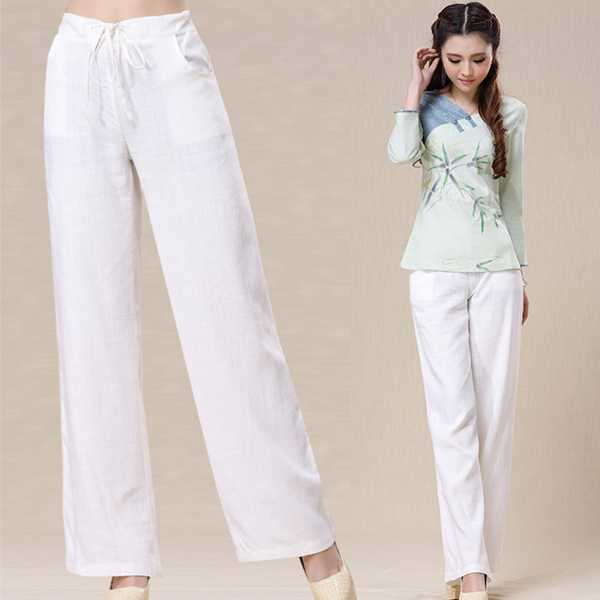New summer women pants Casual High Waist Retro Chinese Long Pants Cotton & linen Solid white lace-up Trousers Plus Size