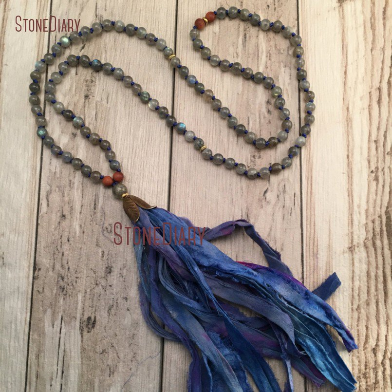 Hand Knotted Labradorite and Sandalwood Mala Necklace <font><b>Sari</b></font> <font><b>Silk</b></font> <font><b>Tassel</b></font> 108 Mala Beads Tibetan Style Necklace in 40inch NM11110 image
