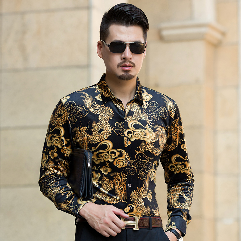 2017 Autumn Gold Velvet Shirts Mens China Dragon Turndown Collar Shirt Long Sleeve Fashion Pattern Male Gold Velvet Dress Shirts