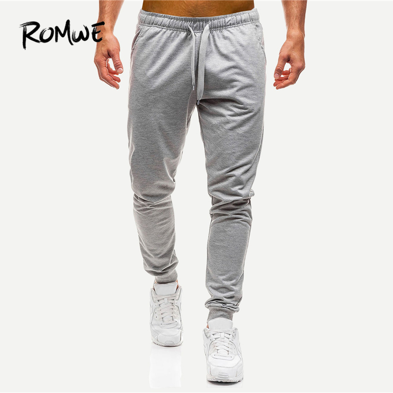 ROMWE Men Solid Drawstring Pants 2019 Fashion Grey Full Length Mid Waist Casual Tapered Carrot Spring Autumn Fitness Pants