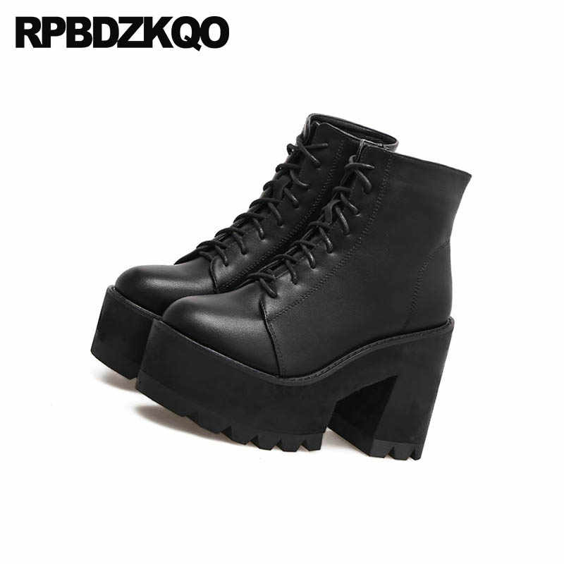 3e21159f5a0 Extreme Fall High Heel Lace Up Shoes Round Toe Chunky Women Ankle Gothic  Platform Boots Punk Black Designer Size 4 Waterproof