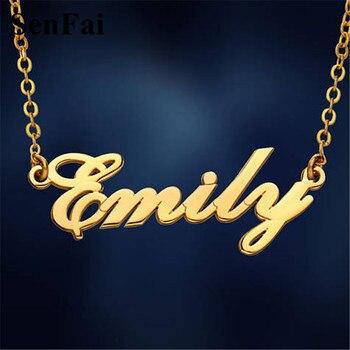2b0527d03fb9 Senfai cualquier collar personalizado para Mujeres Hombres Font monograma  lujo dijes cadena collar nombre colgantes collares para joyería de fiesta