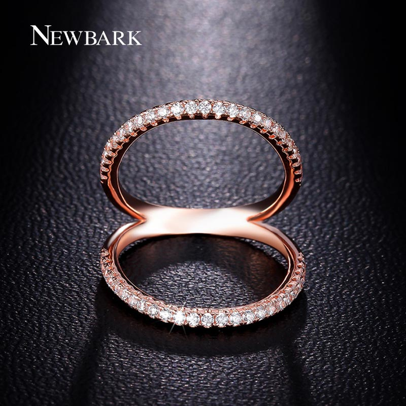 NEWBARK Classic Women Ring Double Circle Shell Shape Finger Rings Rose Gold Color CZ Jewelry Mid Knuckle Bague Ladies