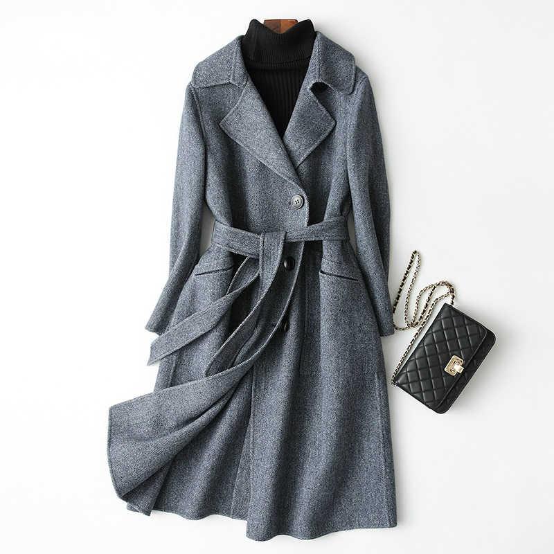 AYUNSUE mody podwójne jednostronne płaszcz z wełny Womans pasy 2019 długi Slim jesień zima kurtka kobiety wełniane płaszcze abrigos 38047 WYQ1775