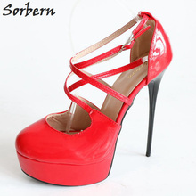 Sorbern 2018 Spring Sexy Boots Buckle Straps High Thin Heels Fashion Pointed Toe Woman Pumps New Super Thin High Heels Platform carpaton 2018 pu leather high platform colored dots decoration fashion ankle straps style women pointed toe thin high heels