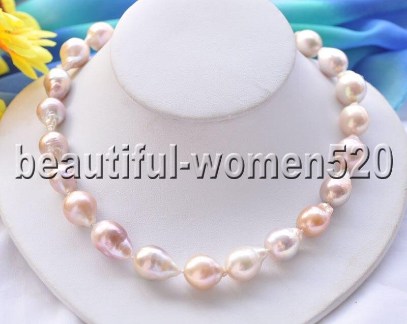 Z8691 21mm rose lavande larme Edison Keshi collier de perles 17 poucesZ8691 21mm rose lavande larme Edison Keshi collier de perles 17 pouces