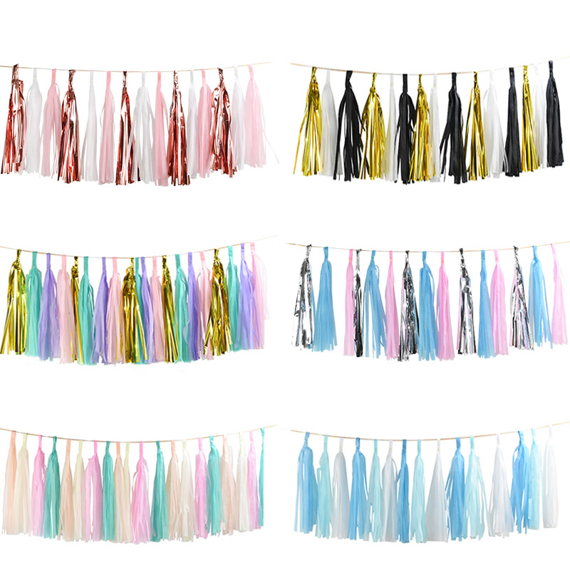 1Set Mixed DIY Tissue Paper Tassel Garland for Wedding Kids Unicorn Birthday Party Decorations Baby Shower Favors Supplies(China)
