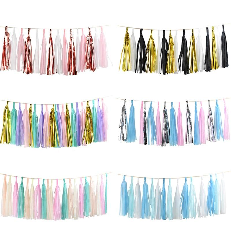 1Set Mixed DIY Tissue Paper Tassel Garland For Wedding Kids Unicorn Birthday Party Decorations Baby Shower Favors Supplies
