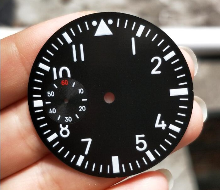 38.9mm GEERVO fashion sterile luminous Number black Five dial fit 6497 movement Men's watch dial 09A