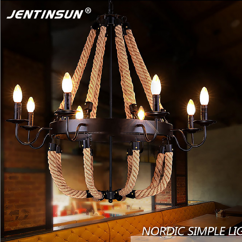 Retro Industrial Loft LED Pendant Light Vintage Iron Hemp Rope Hanging Lights Indoor Lighting Home Fixture for Cafe Restaurant iwhd loft retro led pendant lights industrial vintage iron hanging lamp stair bar light fixture home lighting hanglamp lustre
