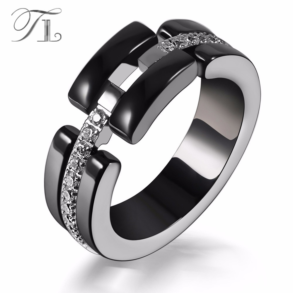 A N Women Ceramic Rings Stainless Steel Annulus Mosaic Zircon Wedding Ring