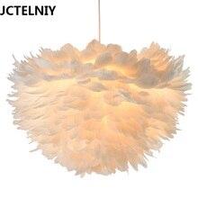 Современная Подвеска Белое Перо Dia60cm Шнура Подвеска Лампа для Столовой luminaria Освещения