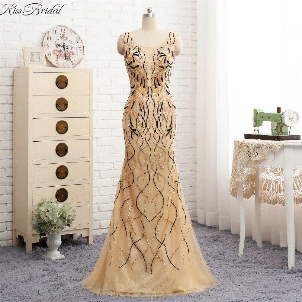 US $12.12 Atemberaubende Schöne Meerjungfrau Abendkleider Lange 21218  Pailletten Perlen Tüll Prom Party Kleid vestidos de festa  longoAbendkleider -