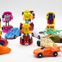 12 Pcs/lot Différents Mini Transformation Robot Modèle de voiture Déformation Voitures avec la boîte à Oeufs Transformer figurines Jouet Figure