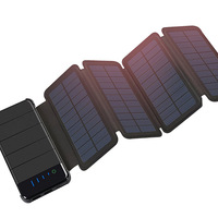 Outdoor Portable Folding Foldable Waterproof Solar Panel Charger Mobile Power Bank 10000mAh for Cellphone Battery Dual USB Port