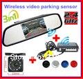 "Wireless Car Rear view Kit 4.3"" TFT LCD vehicle SCREEN Monitor+170 Wide degree mini Reverse backup camera Parking Sensor 4 radar"