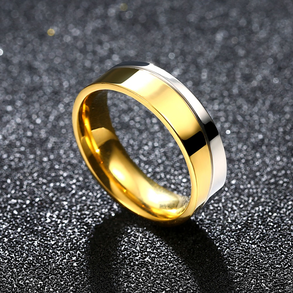 6mm Titanium Steel Mens Gold Silver Ring Wedding Engagement Band Mens  Jewelry Free Shipping(china