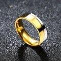 6mm hombres de acero titanium de oro banda de boda del anillo de compromiso de plata para hombre joyería libre
